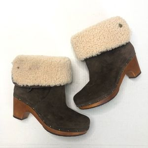 Ugg Lynnea Shearling Fold Over Wooden Clog Boots